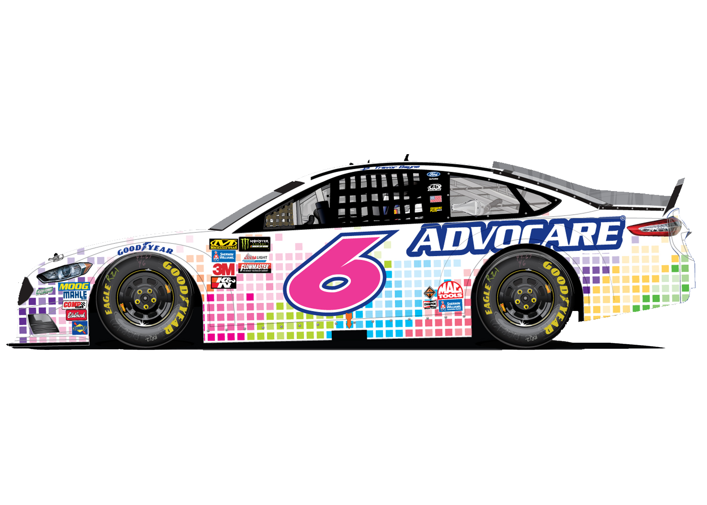 Roush Fenway Racing Driven for a Cause carrying pink numbers in
