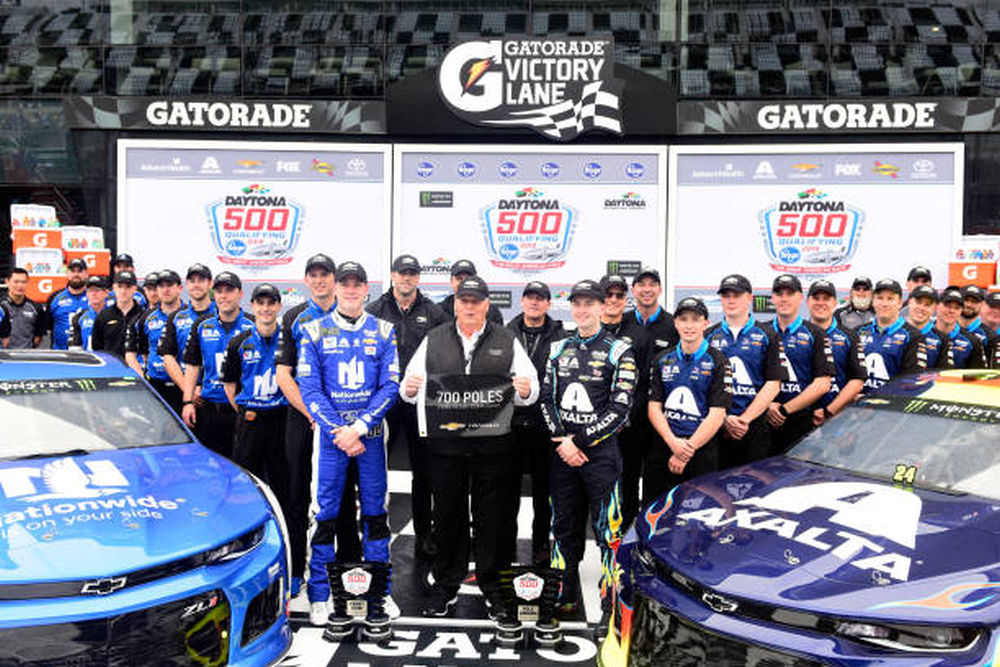 1187aab6556 Alex Bowman, driver of the No. 88 Nationwide Chevrolet, team owner Rick  Hendrick